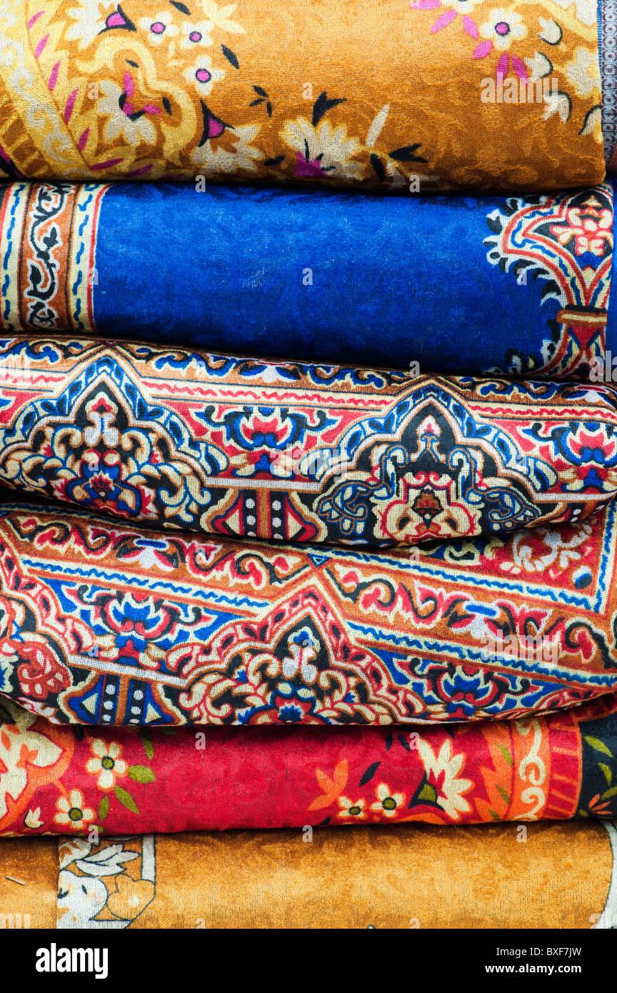 Bunt gewebten indischen Teppichen. Indien Stockbild
