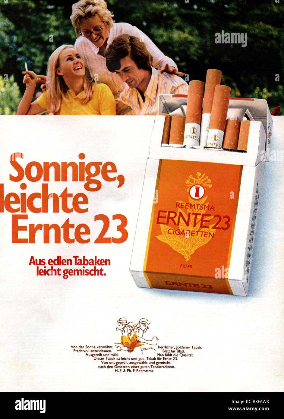 werbung tabak zigaretten anzeige f r reemtsma ernte 23 zigaretten aus der zeitschrift. Black Bedroom Furniture Sets. Home Design Ideas