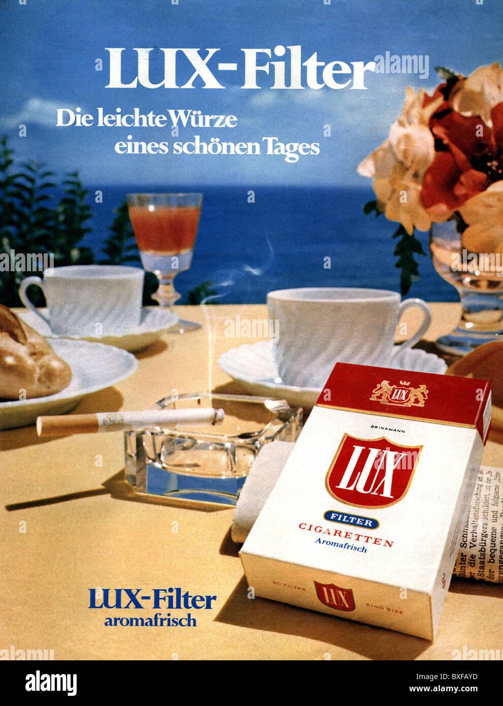 werbung tabak zigaretten anzeige f r lux zigaretten aus der zeitschrift neue revue nr 21. Black Bedroom Furniture Sets. Home Design Ideas
