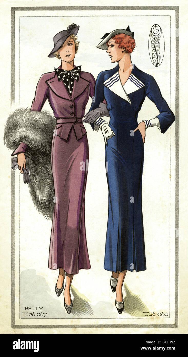 1930er jahren ladie mode elegante mode 20 jahrhundert historische historischer kleidung. Black Bedroom Furniture Sets. Home Design Ideas