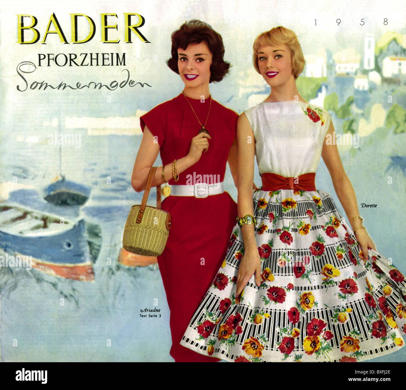 mode 1950er jahre katalog mode bader katalog sommerausgabe pforzheim deutschland 1958. Black Bedroom Furniture Sets. Home Design Ideas