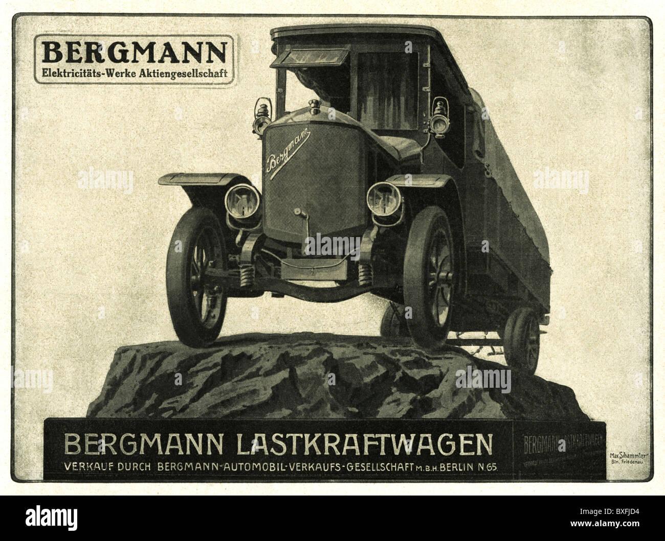 verkehr transport auto fahrzeugvarianten bergmann lkw werbung von bergmann elektricitaets. Black Bedroom Furniture Sets. Home Design Ideas