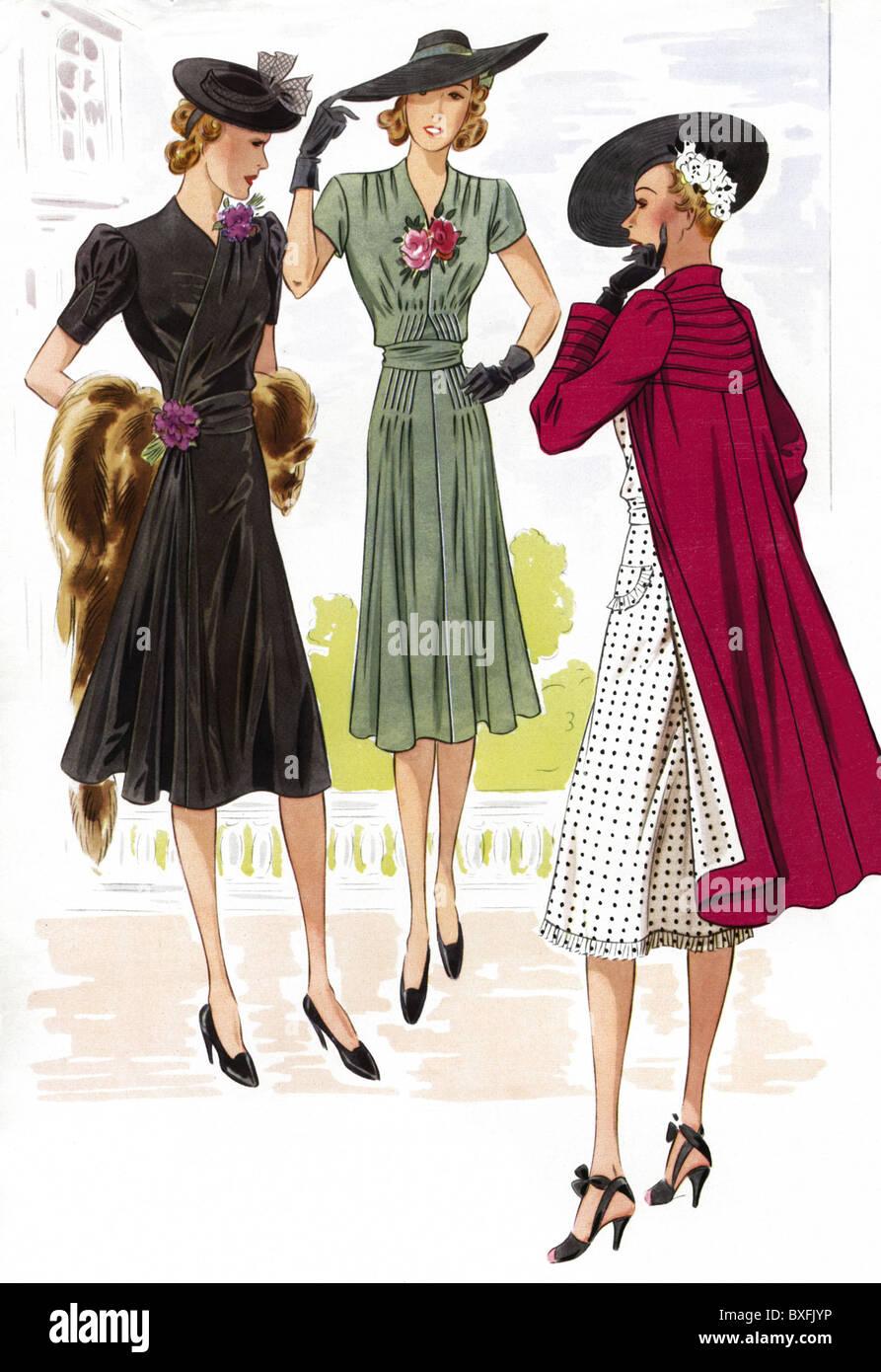 mode, 1930er jahre, damenmode, elegante mode, 20