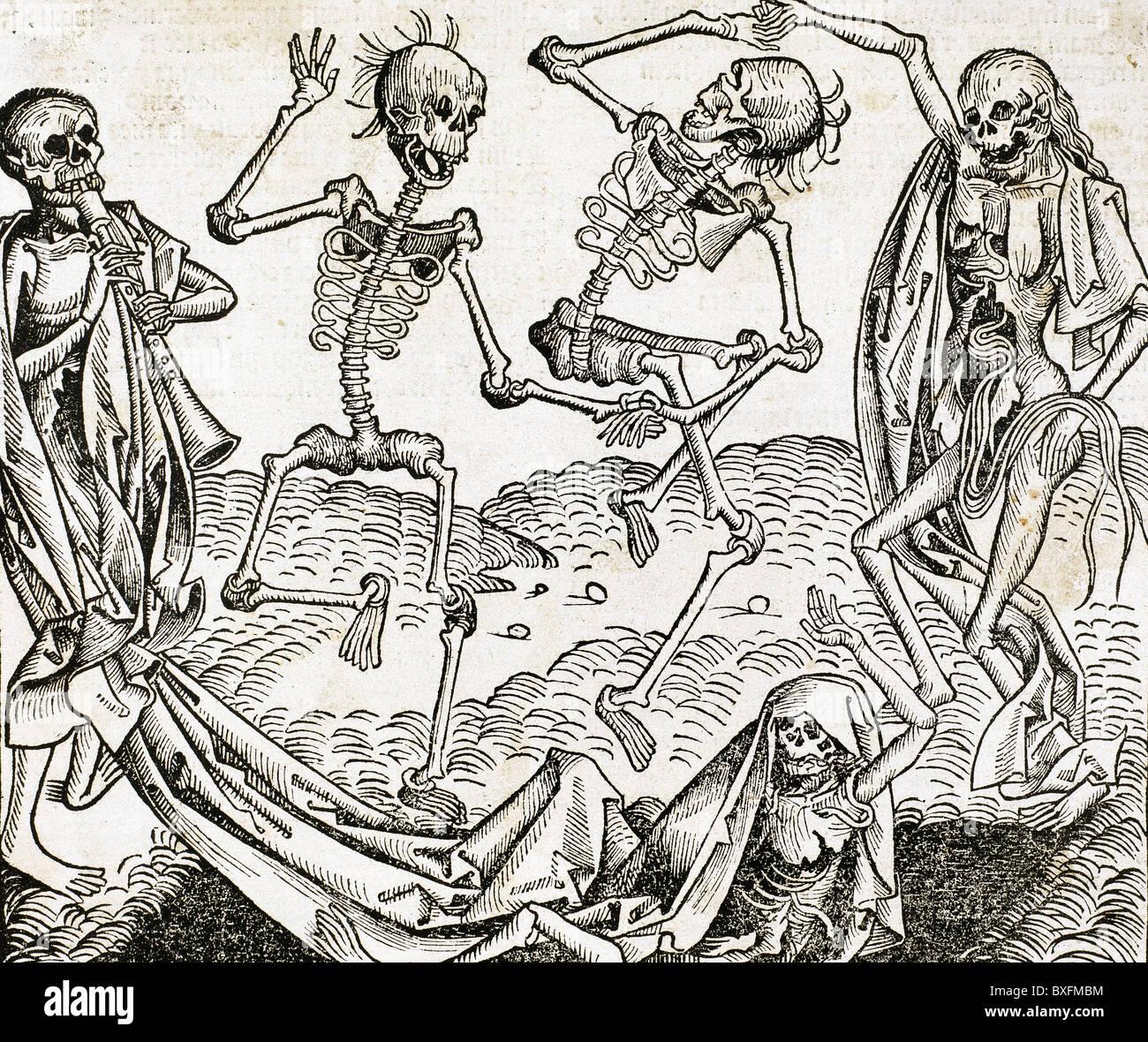 Der Tanz des Todes (1493) von Michael Wolgemut, aus dem Liber Chronicarum von Hartmann Schedel. Gravur. Stockbild