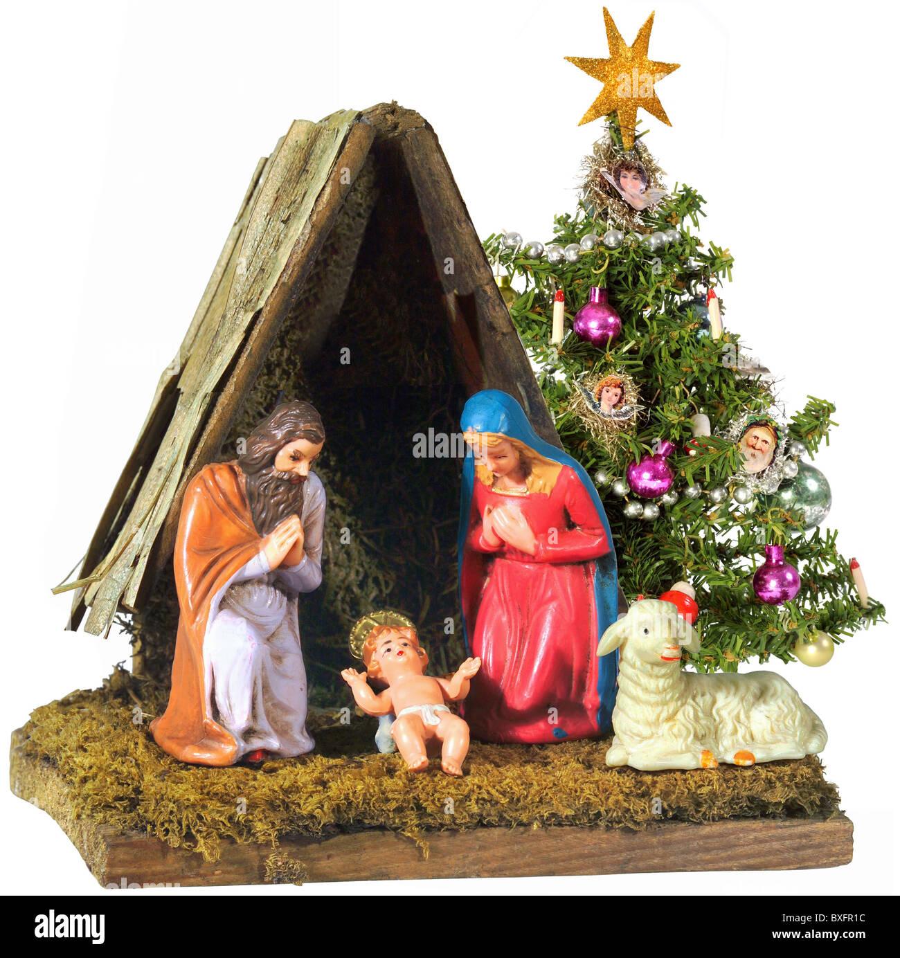 Weihnachtsbaum Brauchtum.Weihnachten Krippe Mit Weihnachtsbaum 20 Jahrhundert Historische
