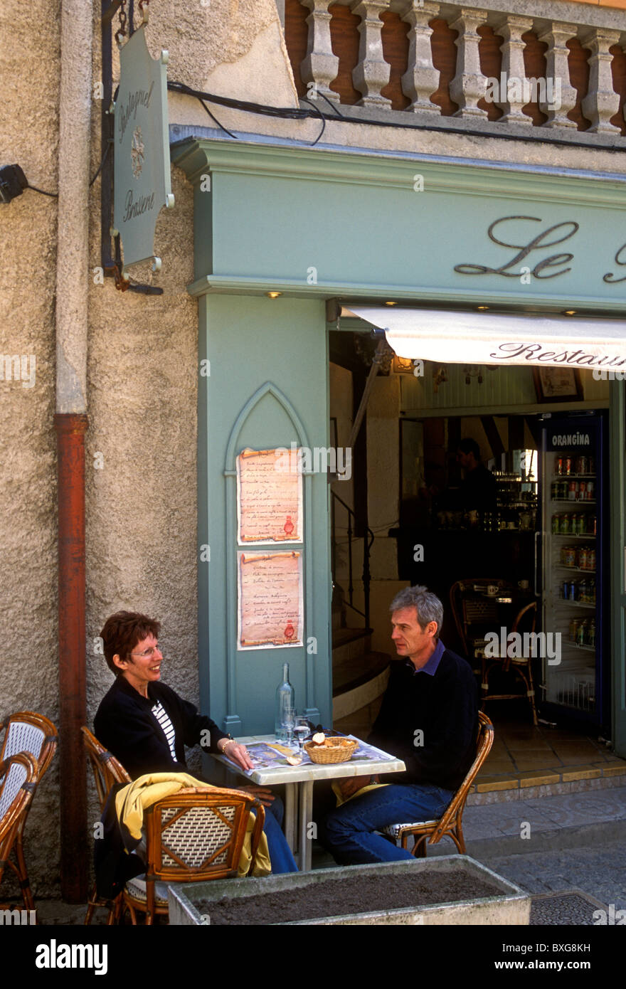 Franzosen, Paar, Touristen, Outdoor Restaurant, französische Küche ...