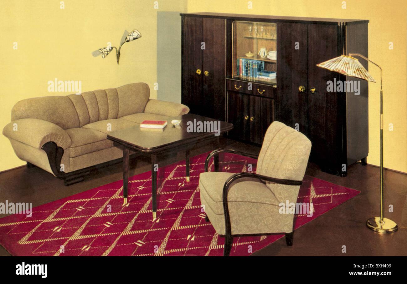 Möbel, Wohnzimmer, Polstermöbel, Deutschland, ca. 1956, 1950er Jahre ...
