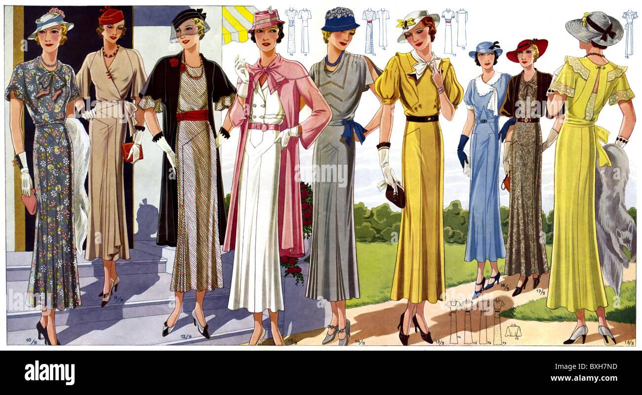 mode, 1930er jahre, damenmode, elegante mode, um 1933