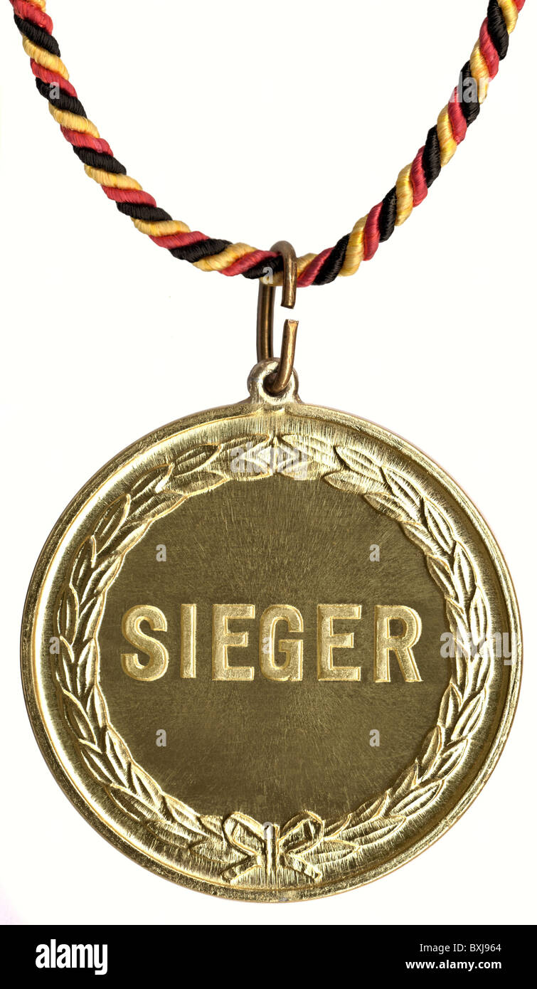 Symbol Bilder, Sieger, Medaille, Gold, Deutschland, Additional-Rights - Clearences-NA Stockbild