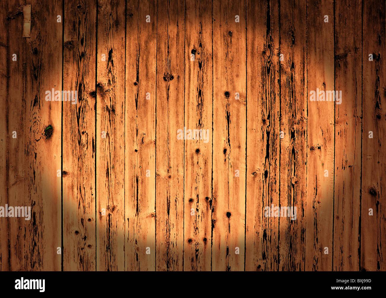 Verwitterte gemalten veraltete grobe Holzbohlen Stockbild