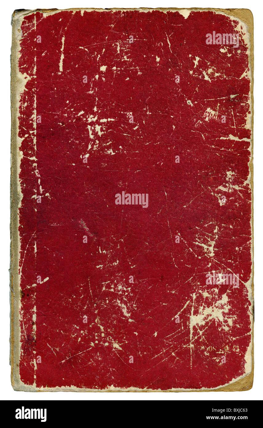 Veraltete schmutzig abgewetzten Bucheinband isoliert auf weiß Stockbild
