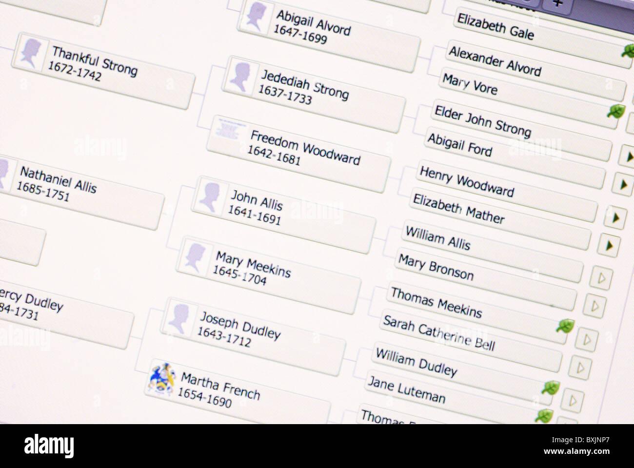 Stammbaum und GenealogieInformationen auf Ancestry.com Stockbild
