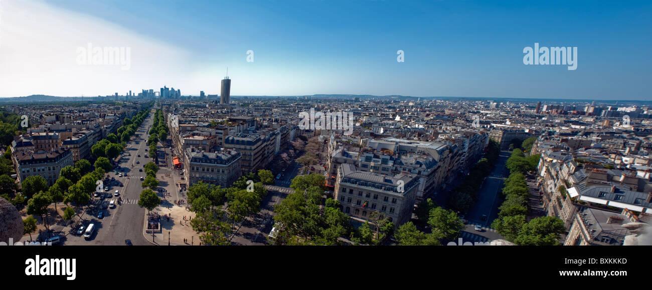 Paris, Frankreich, Panorama Stadtansicht, Übersicht Skyline (vom Arc de Tri-Omphe) Stockbild