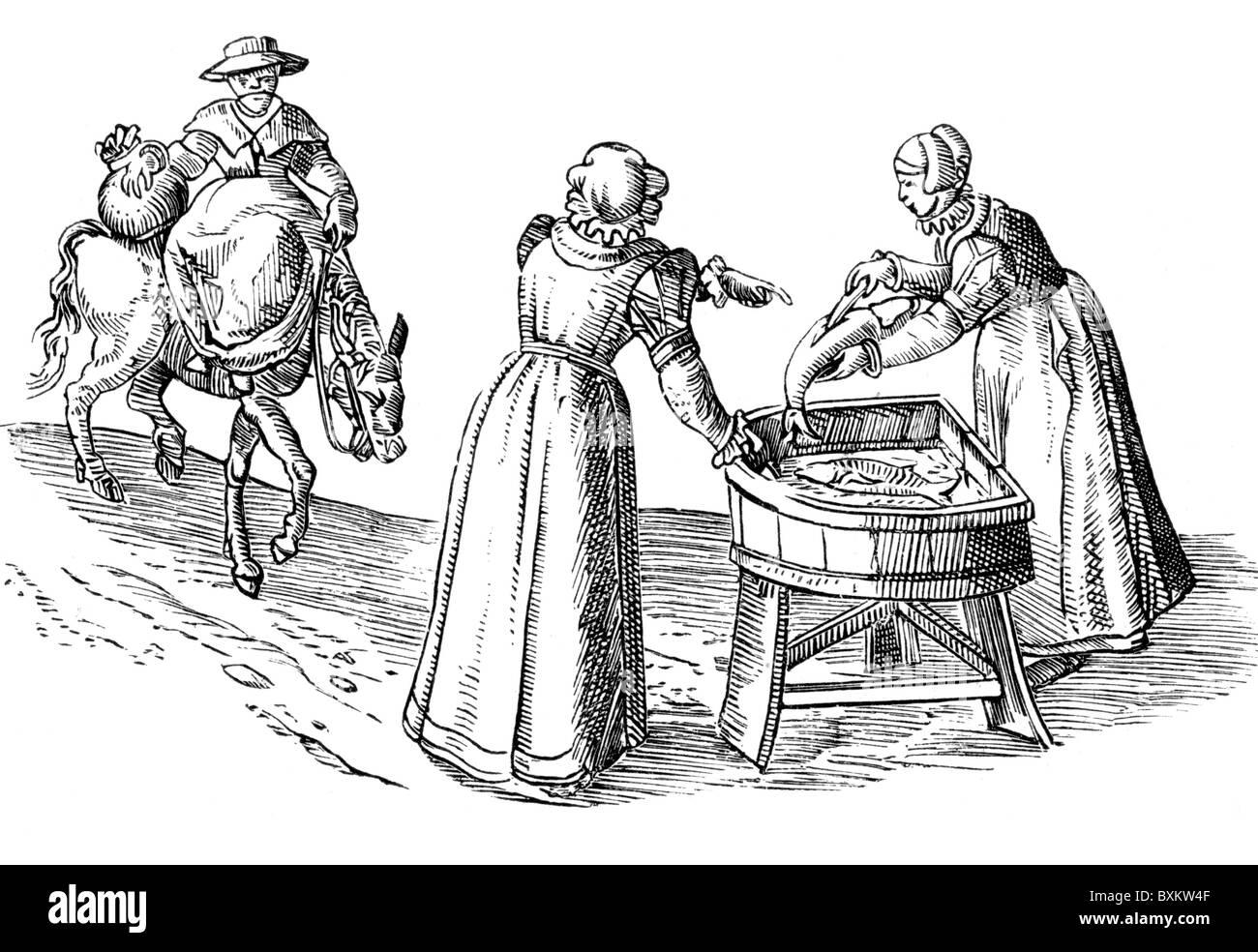 Englische Marktfrauen, 16. Jahrhundert; Schwarz und weiß-Abbildung; Stockbild