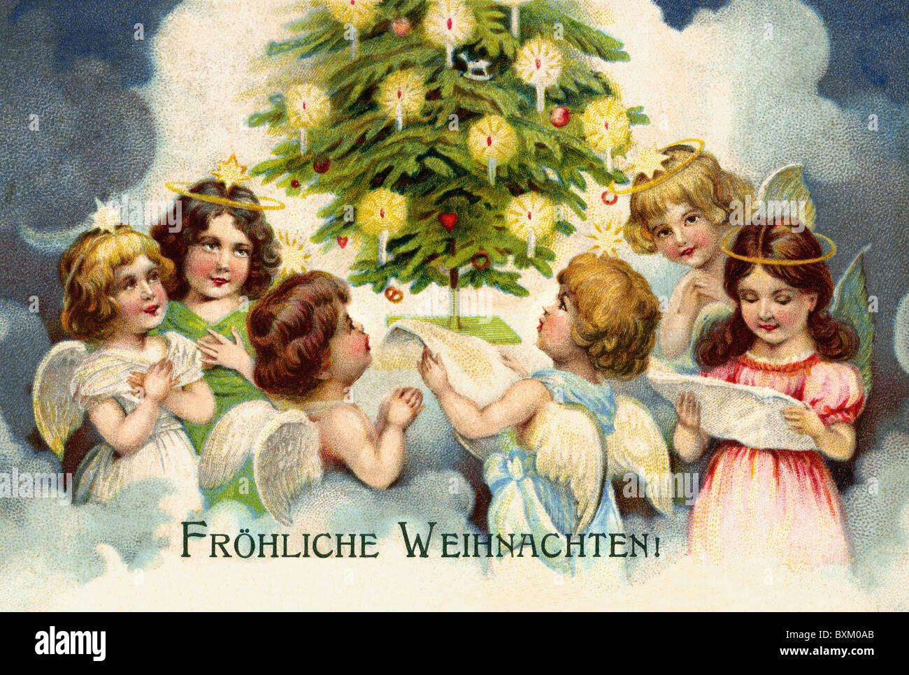 Chöre Singen Weihnachtslieder.Weihnachten Engel Chor Singen Weihnachtslieder Unter Dem