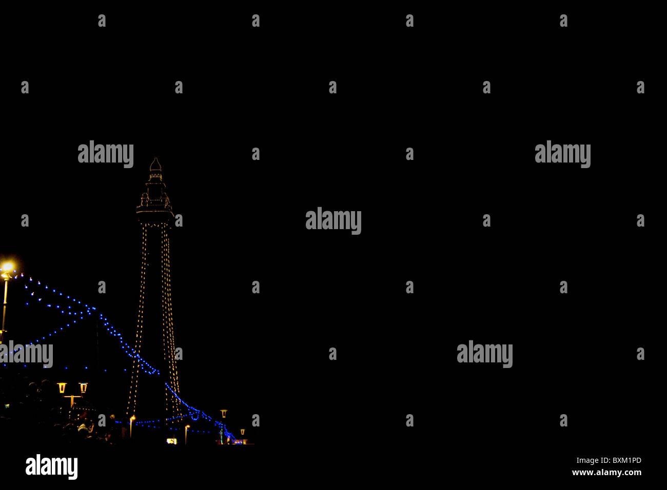 Blackpool Tower leuchtet Nordpier Stockfoto