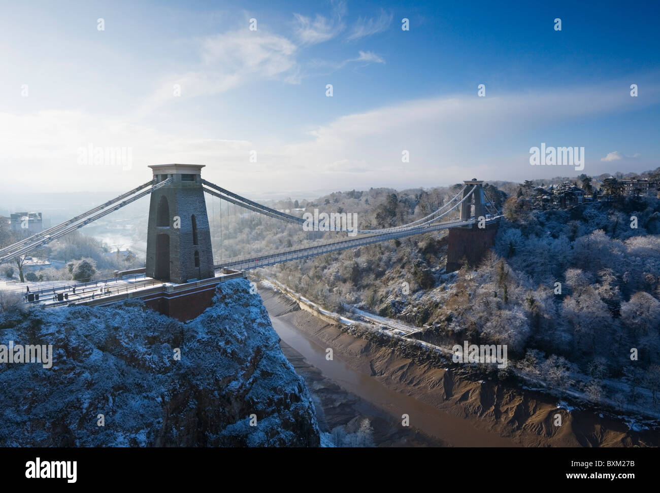 Clifton Suspension Bridge, Winter. Bristol. England. VEREINIGTES KÖNIGREICH. Stockbild