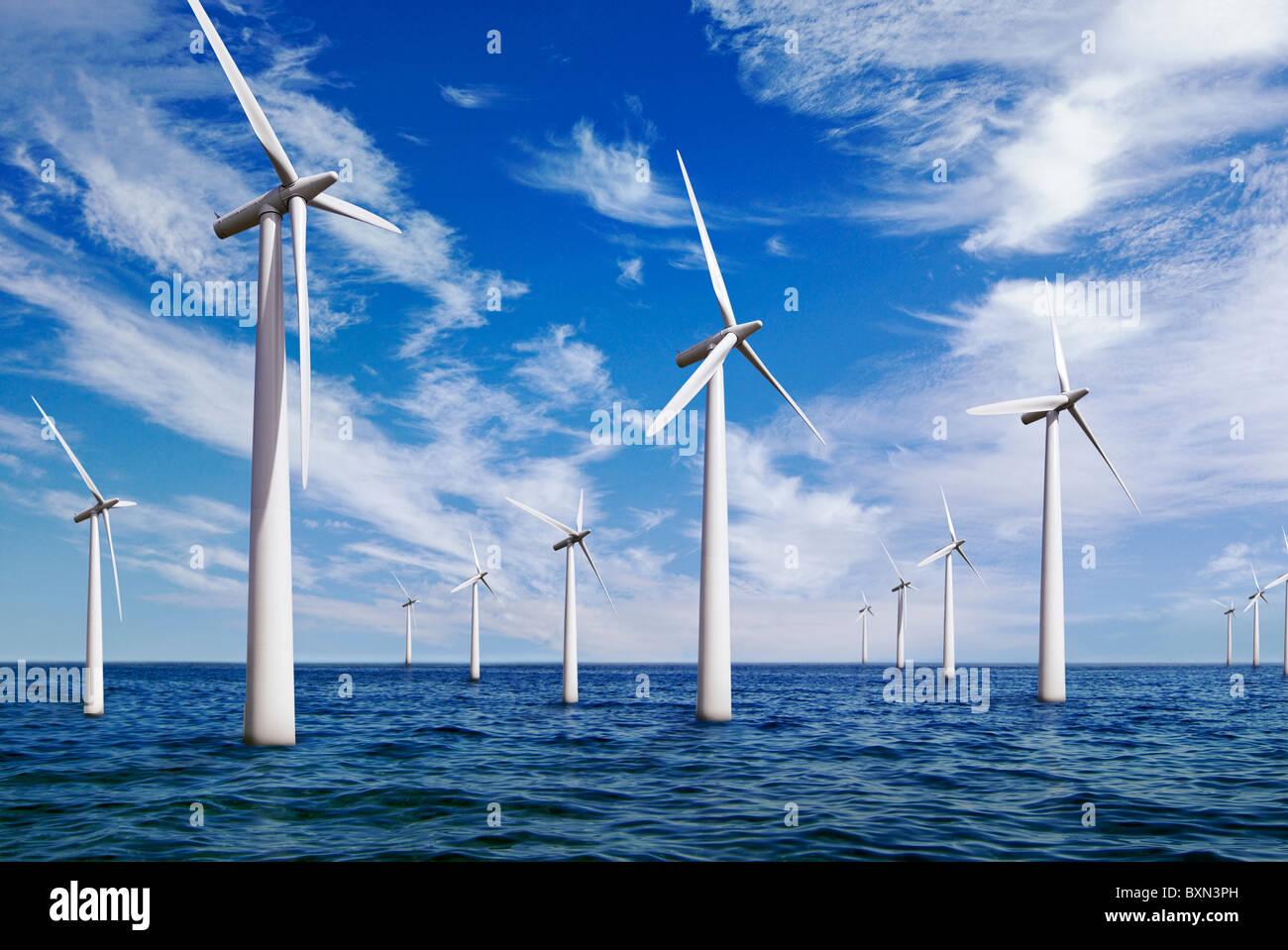 Offshore-Wind Farm, UK. Stockbild
