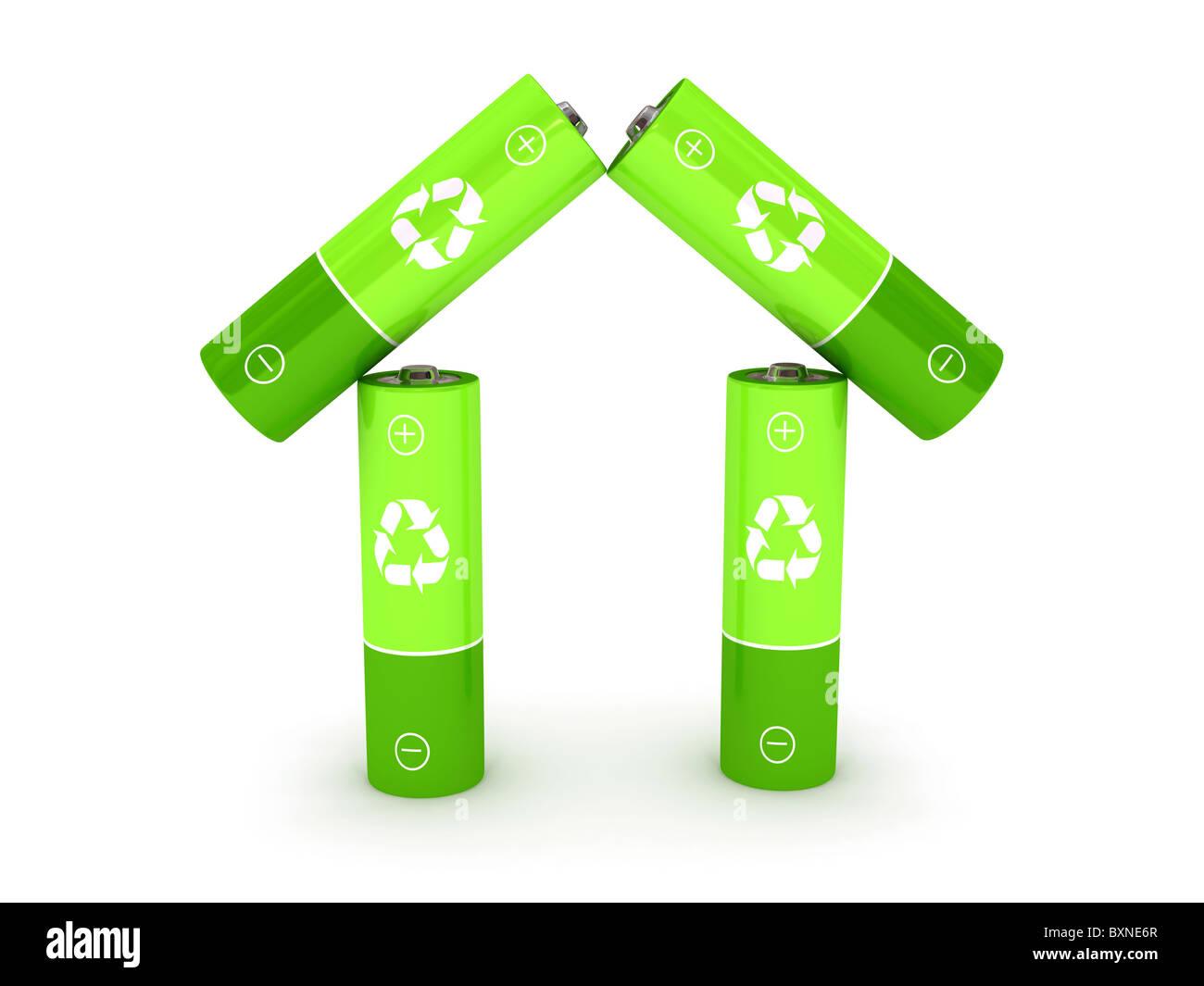 Grüne Batterie auf weißem Hintergrund Stockbild