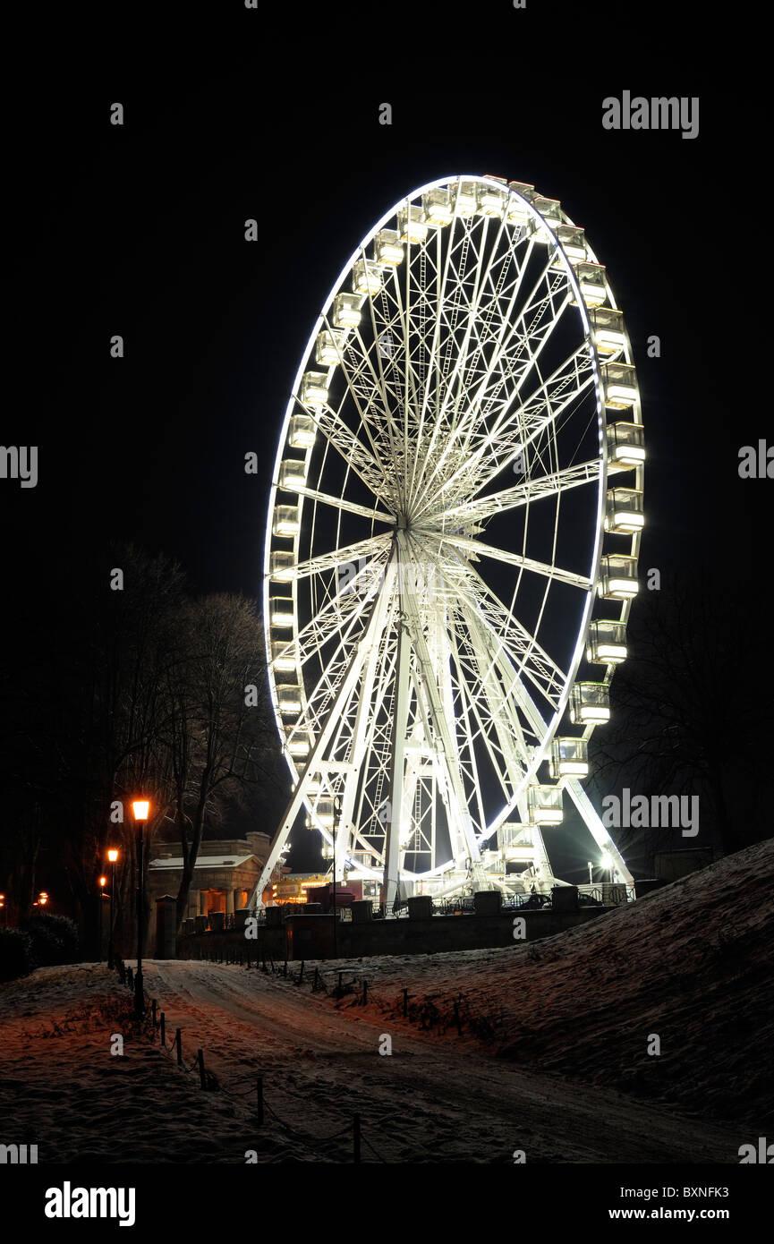 Chester-Rad in der Nacht Stockbild