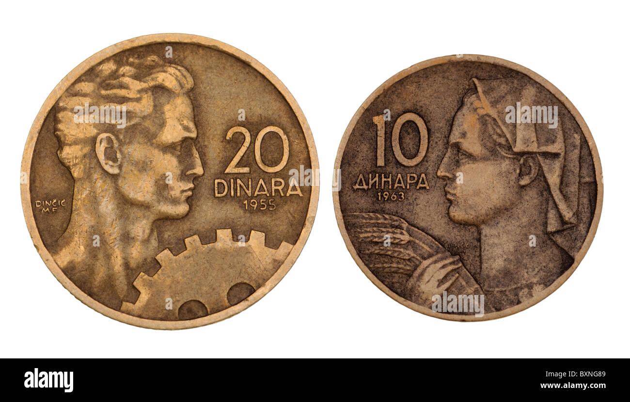 Jugoslawische Münzen von 1955 und 1963 zeigt Ingenieur und Farm worker Stockbild