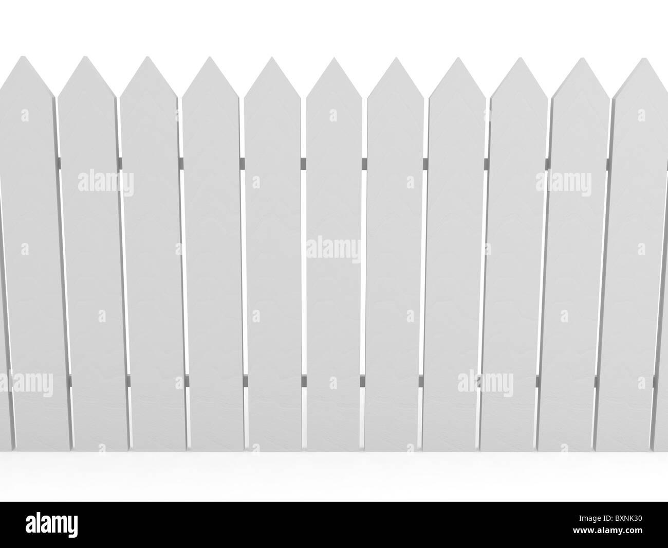 Weißer Zaun über Hintergrund Stockbild