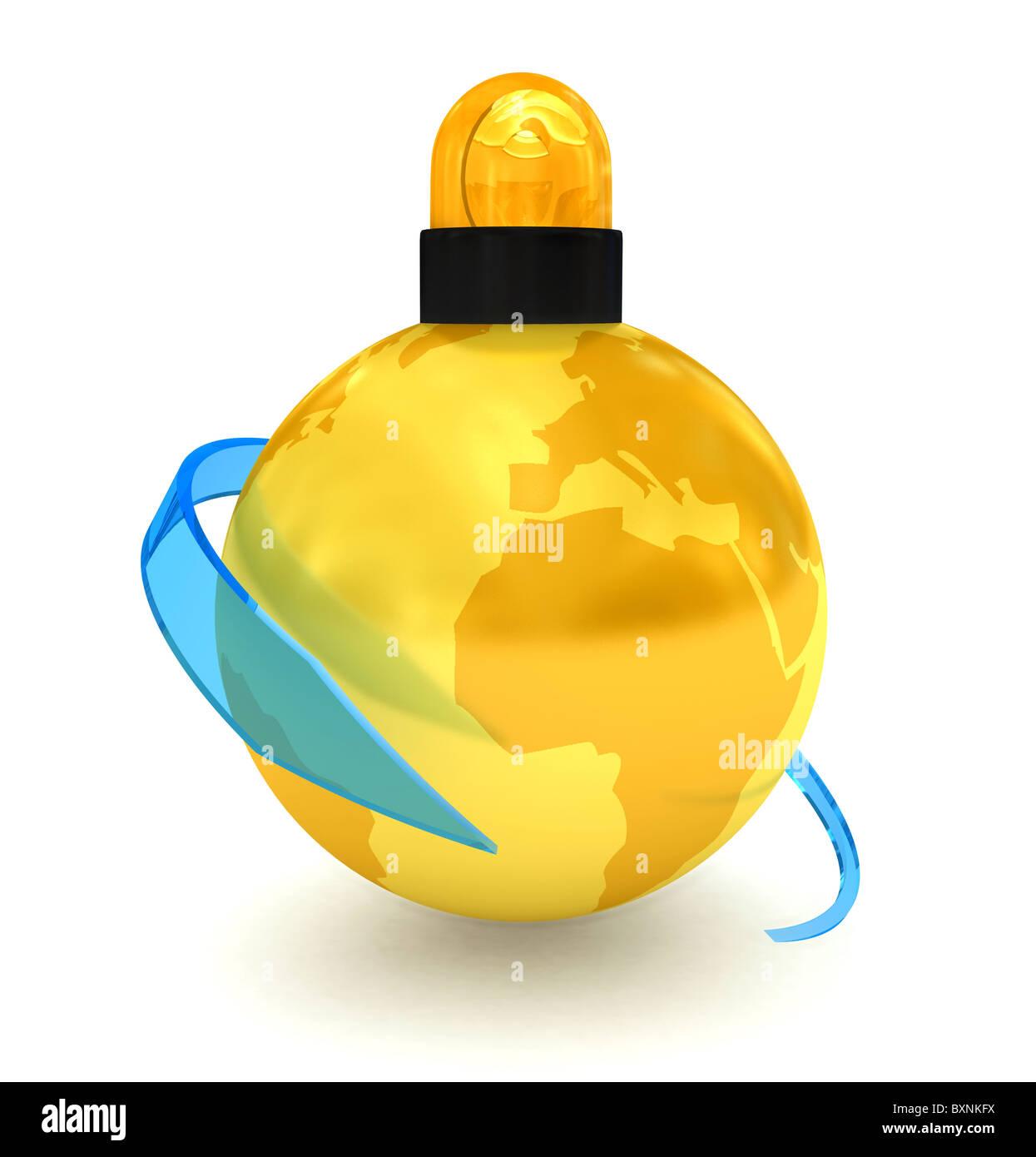 Globus auf weißem Hintergrund Stockbild