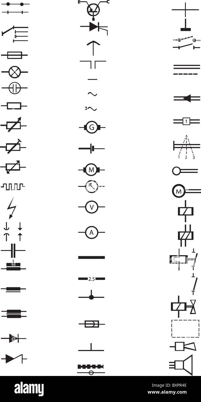 Eine umfangreiche Liste von zahlreichen elektrischen Zeichen und ...