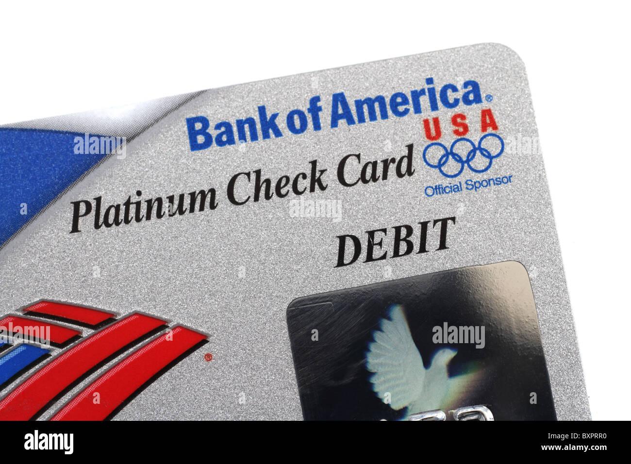 Teilansicht des Bank of America Debit Kreditkarte Stockfotografie