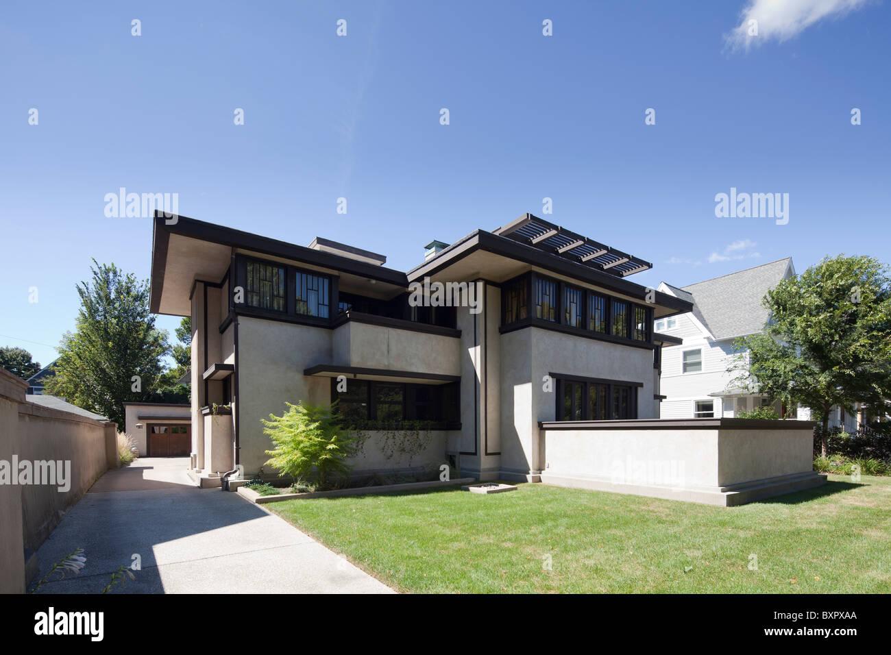 Oscar B. Balch Haus von Frank Lloyd Wright, Eiche Park, Chicago, Illinois, USA Stockbild