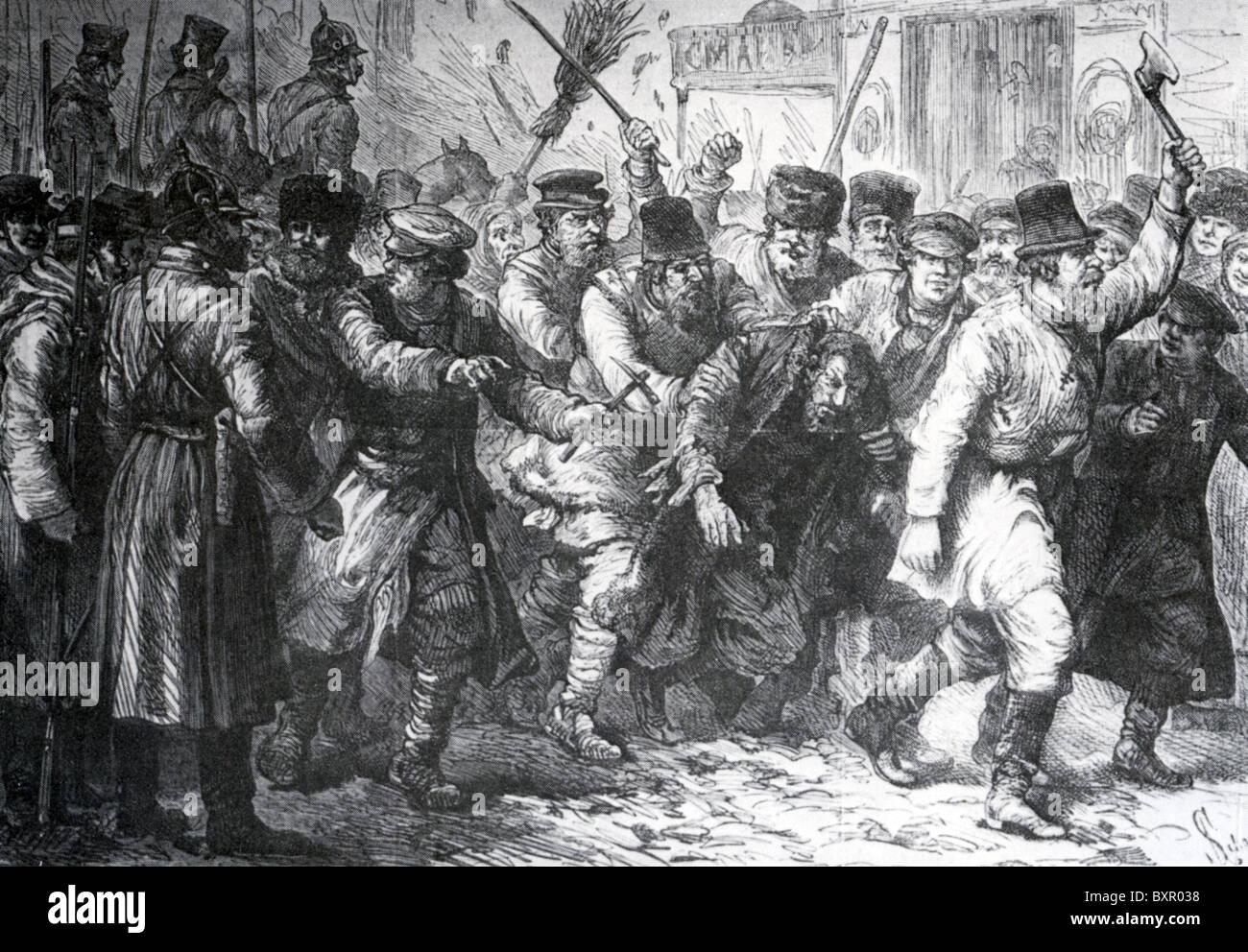Kiew POGROM 1881 nach Ermordung von Alexander II.  Mobregel übernimmt, während Soldaten stehen. Stockbild