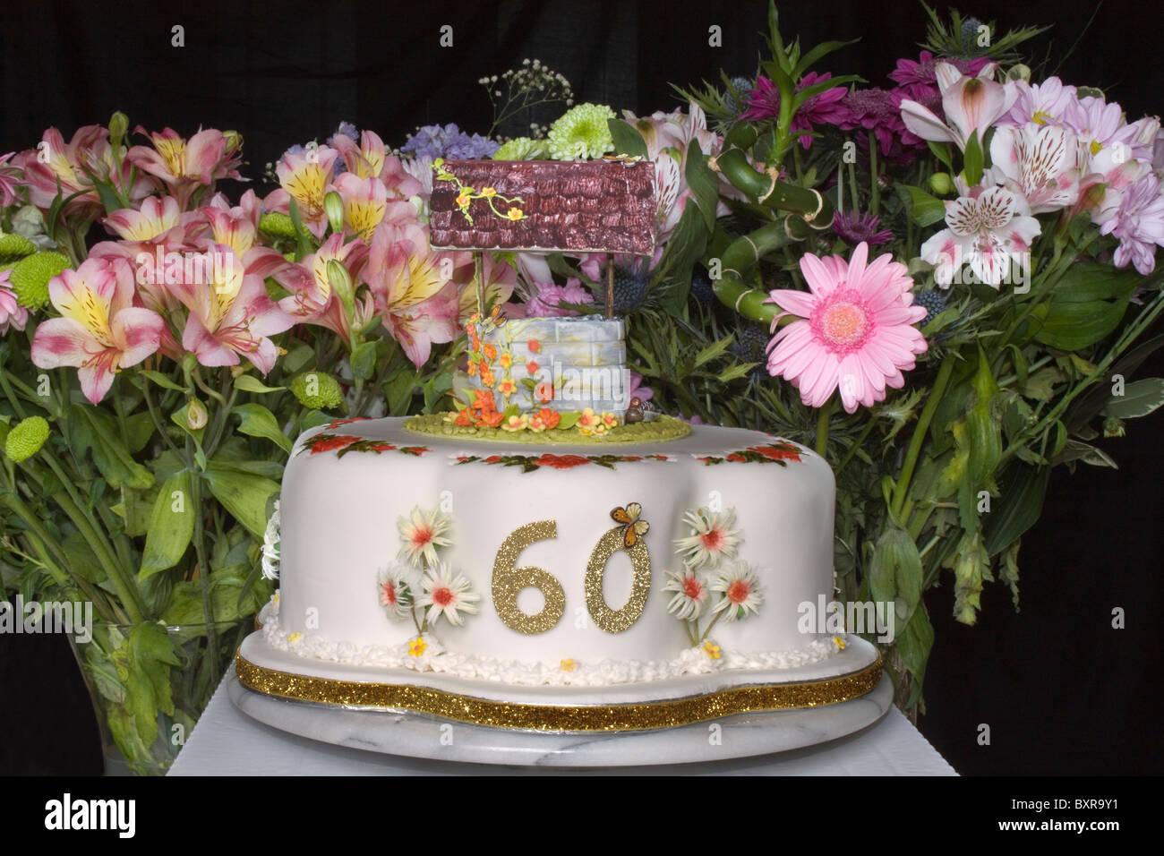 Einen 60 Geburtstag Kuchen Mit Wunschbrunnen Auf Der Oberseite Und