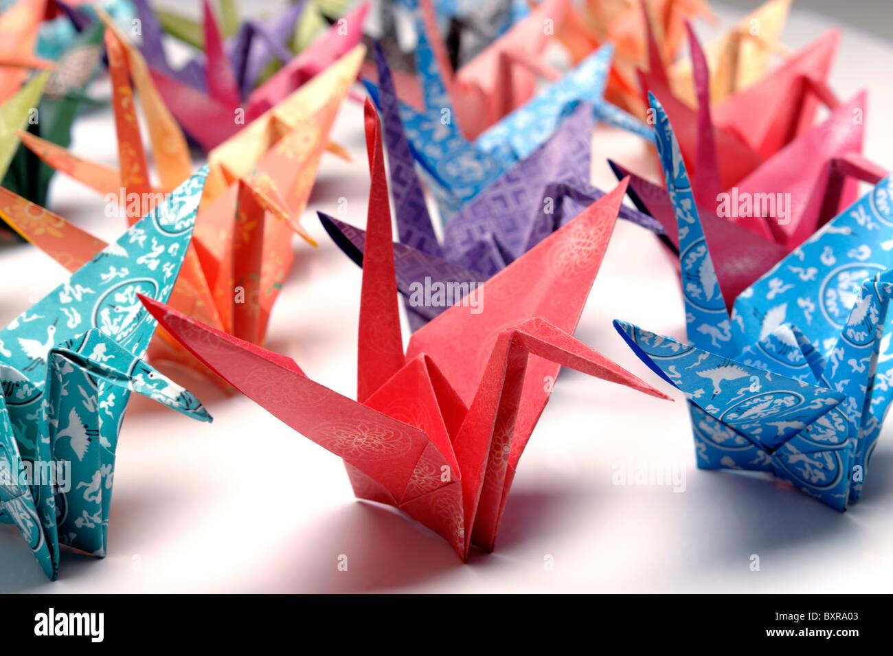 Origami Papier Kran Vögel Stockbild