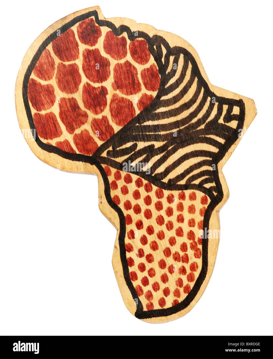 hölzerne afrikanischen Kontinent mit Tierfell Designs auf sie isoliert auf weiß Stockbild