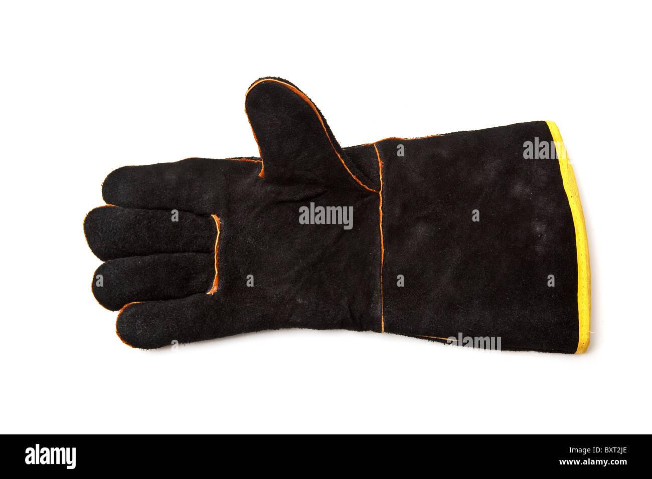 Schwarze Wildleder Lederhandschuhe oder Stulpen isoliert auf einem weißen Studio-Hintergrund. Stockbild