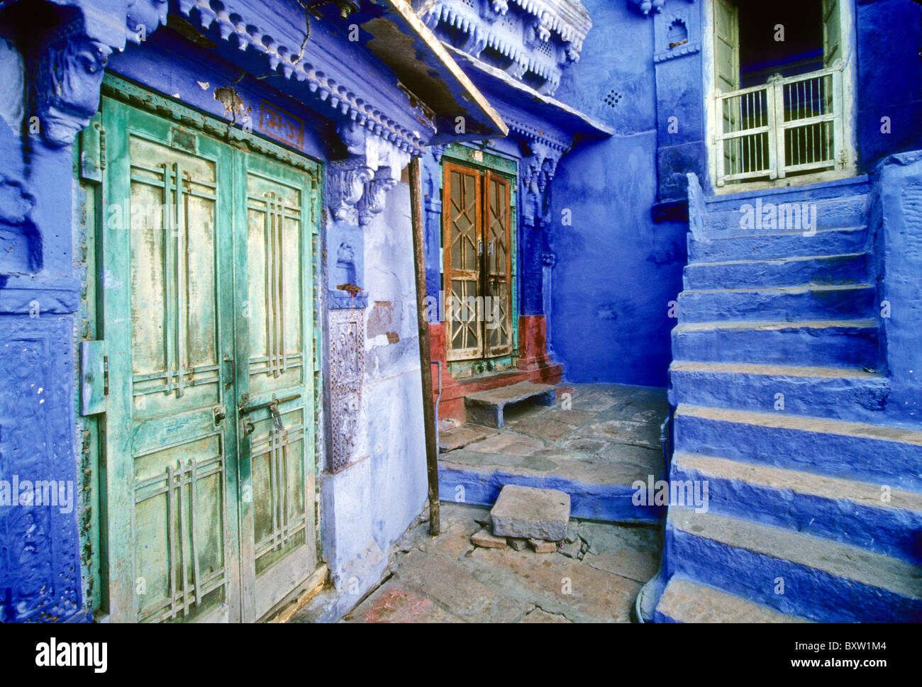 Blaue Häuser häuser in die blaue stadt jodhpur rajasthan indien stockfoto bild