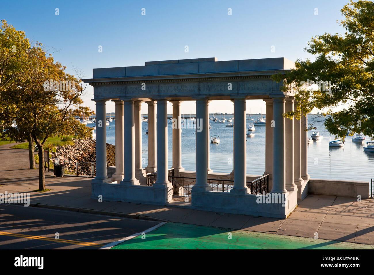 Plymouth Rock in der Pilger-Gedenkstätte in Plymouth Massachusetts Stockfoto