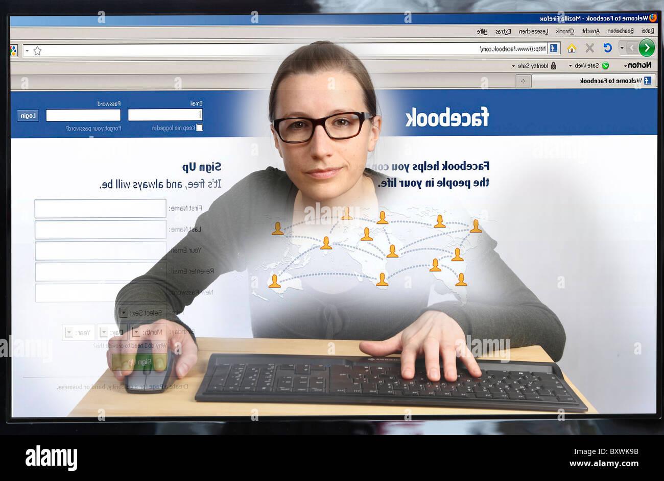 frau sitzt vor einem computer im internet surfen blick aus dem inneren des computerbildschirms. Black Bedroom Furniture Sets. Home Design Ideas