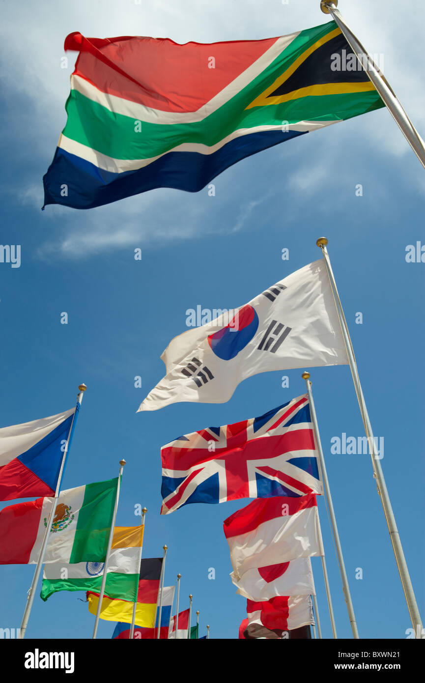 Ländern der Welt kennzeichnet International fliegen Stockfoto