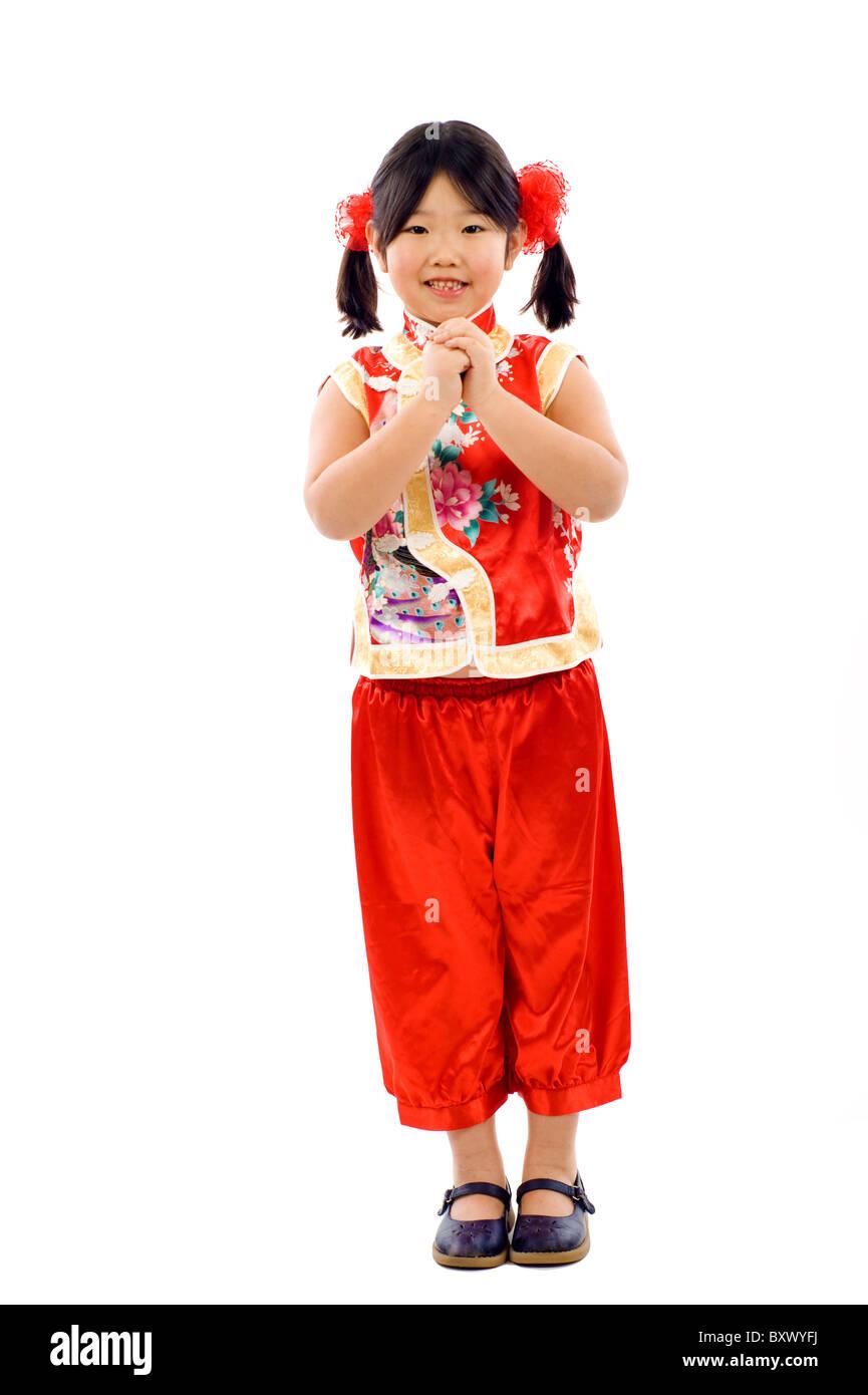 Wenig Asiangirl ich wünsche Ihnen ein frohes neues Jahr! Gong Xi Fa ...