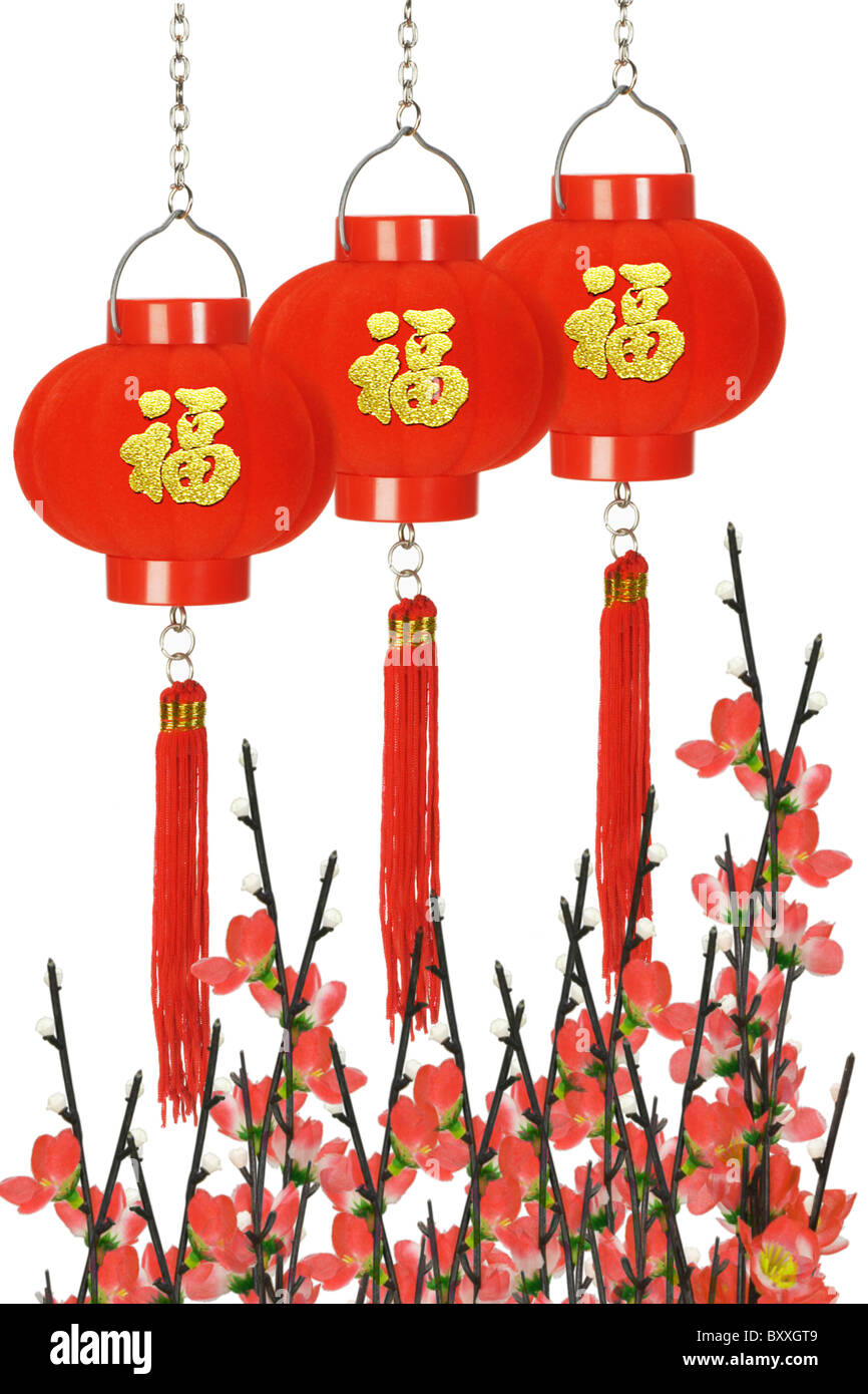 Chinesischen Wohlstands Laternen und Pflaumenblüte auf weißem Hintergrund Stockbild