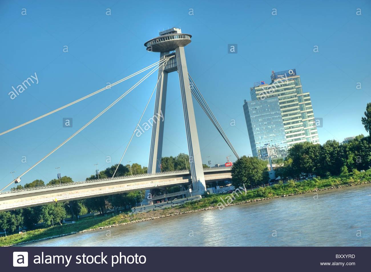 Bratislava, Donaubrücke, Nov? die meisten (Errichtet 1967-1972 Nach Einem verschafft von A.Tes·r, J.Lacko, Stockbild