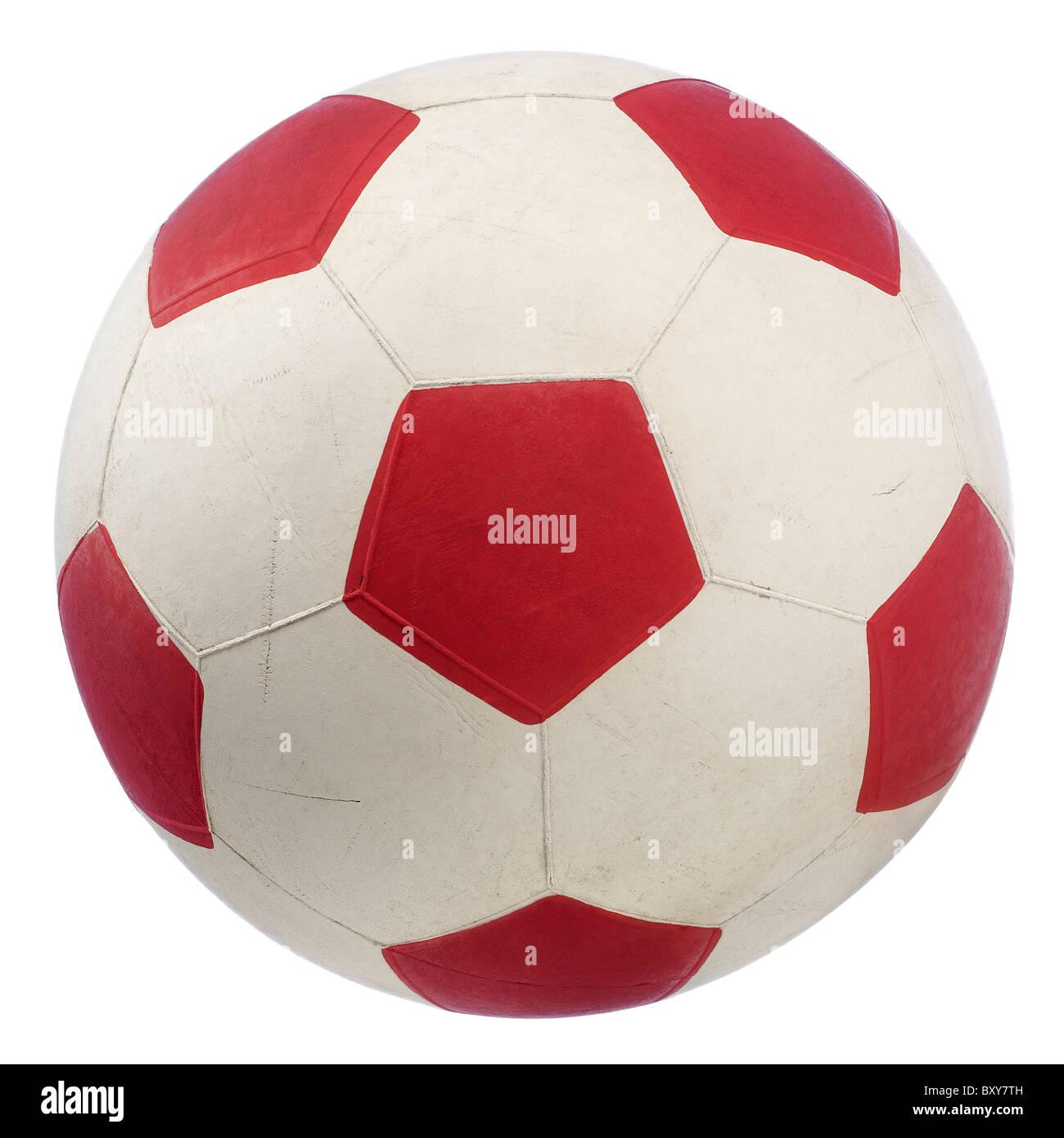 einen roten und weißen Fußball isoliert auf weiss Stockbild