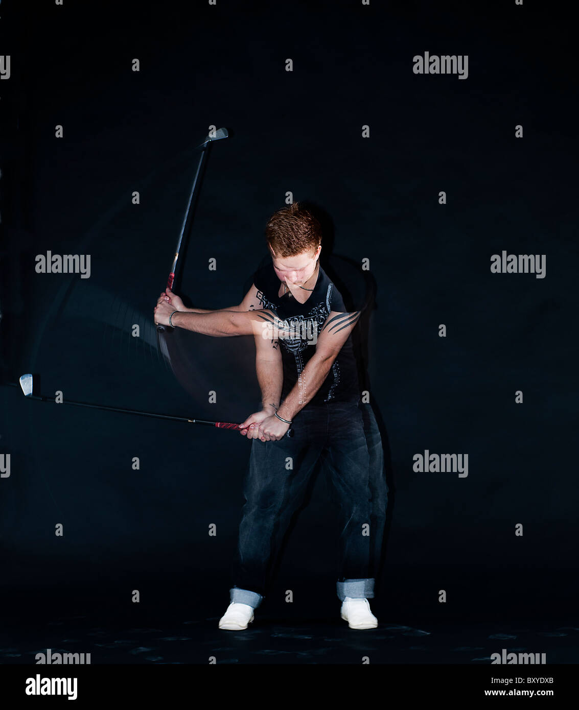 Golf-Schwenkbewegung Stockfoto