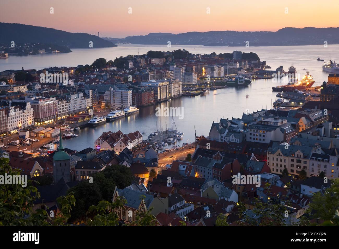 Blick über Bergen, Hordaland, Norwegen Stockbild