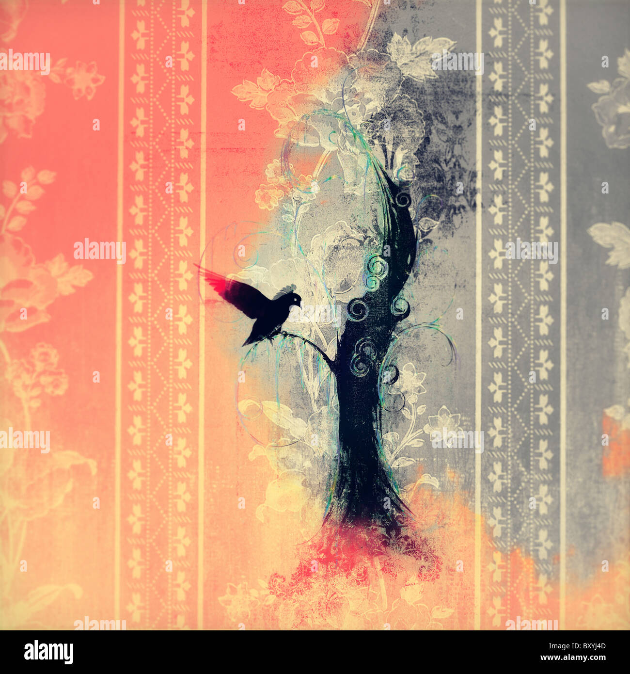 Bild des schwarzen Vogels Landung auf Baum, mit dem Feuer um. Stockbild