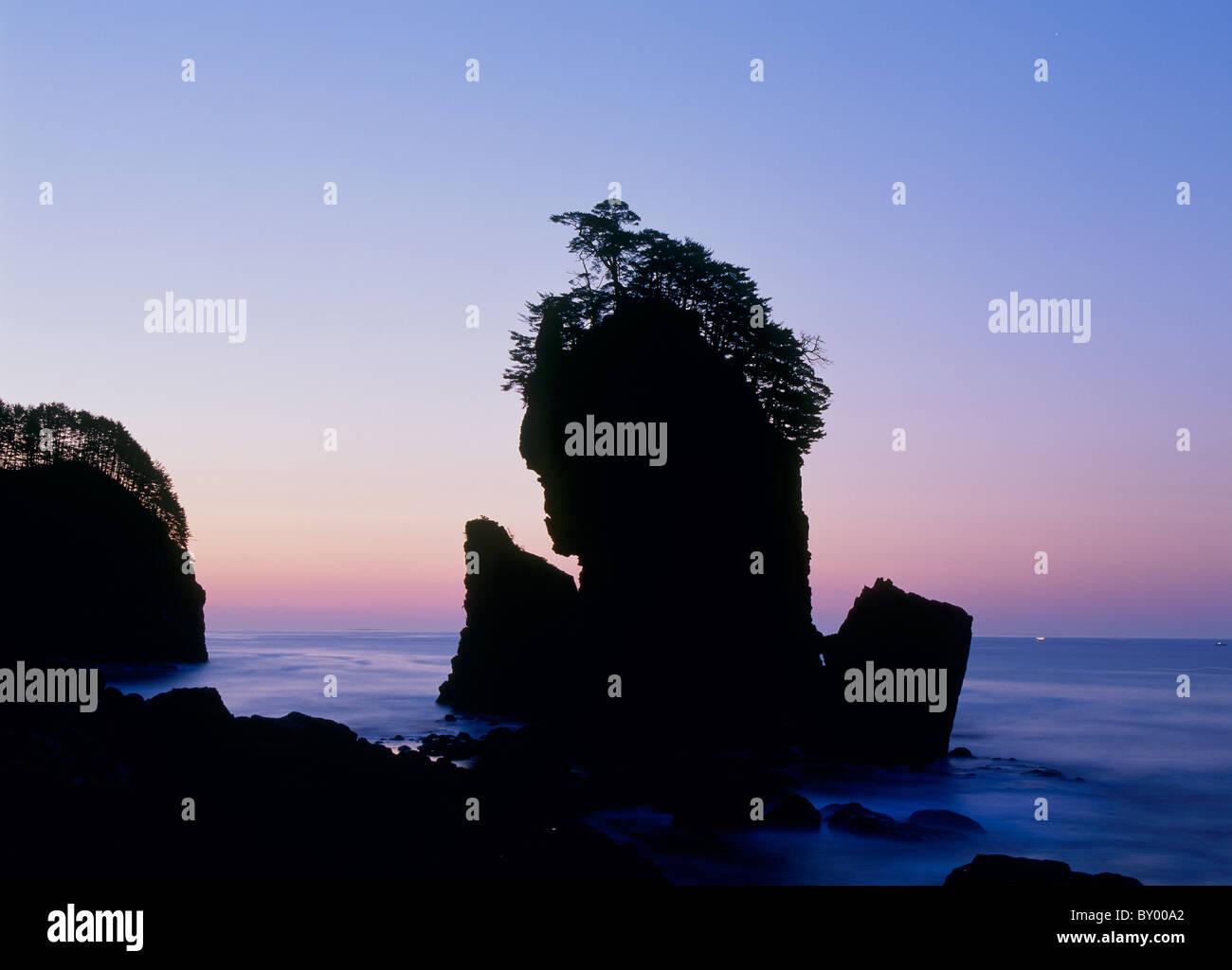 Morgenglut und Sanno Rock, Miyako, Iwate, Japan Stockbild