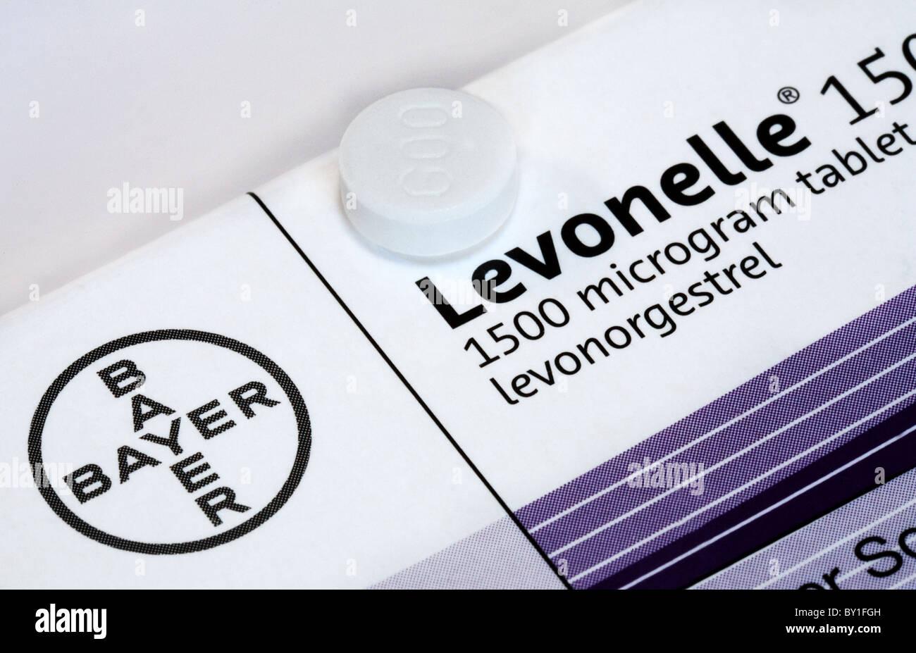 Levonelle Morgen nach Pille von Bayer Pharmaceuticals hergestellt Stockbild