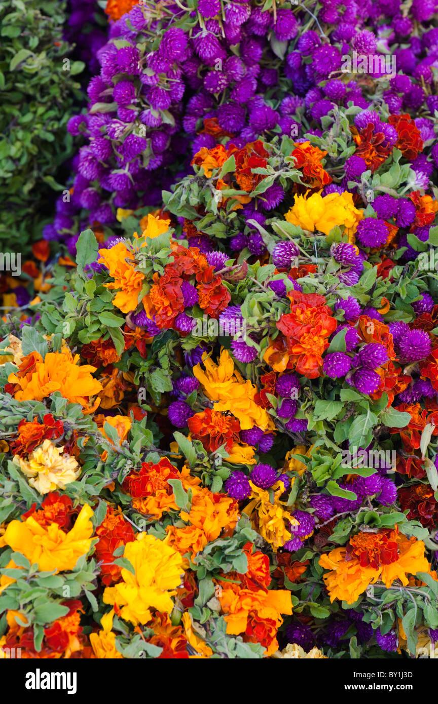 Körbe mit Blumen an einem indischen Markt für Girlanden für hinduistische Frömmigkeit. Andhra Pradesh, Indien Stockfoto