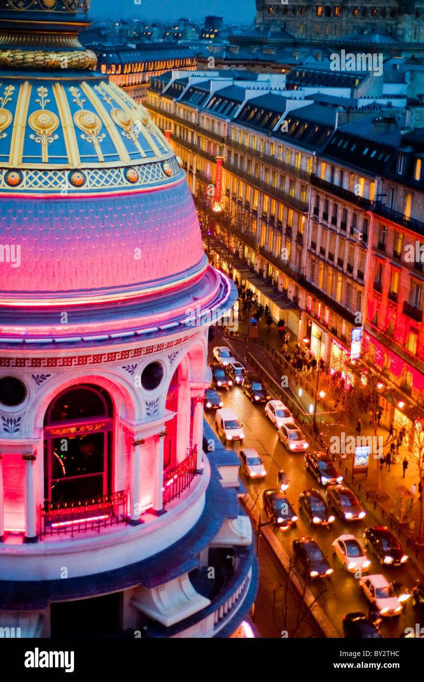 Paris, Frankreich, Einkaufen, Kaufhaus Printemps, außerhalb, Dämmerung, Boulevard Haussmann Stockbild